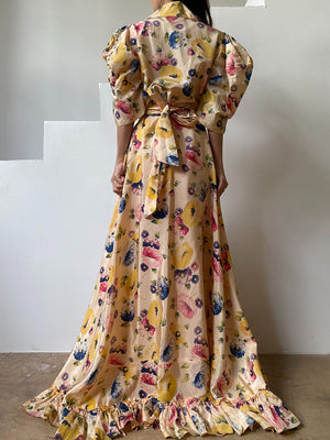 1930s/40s Puff Sleeve Acetate Floral Dress - S/M