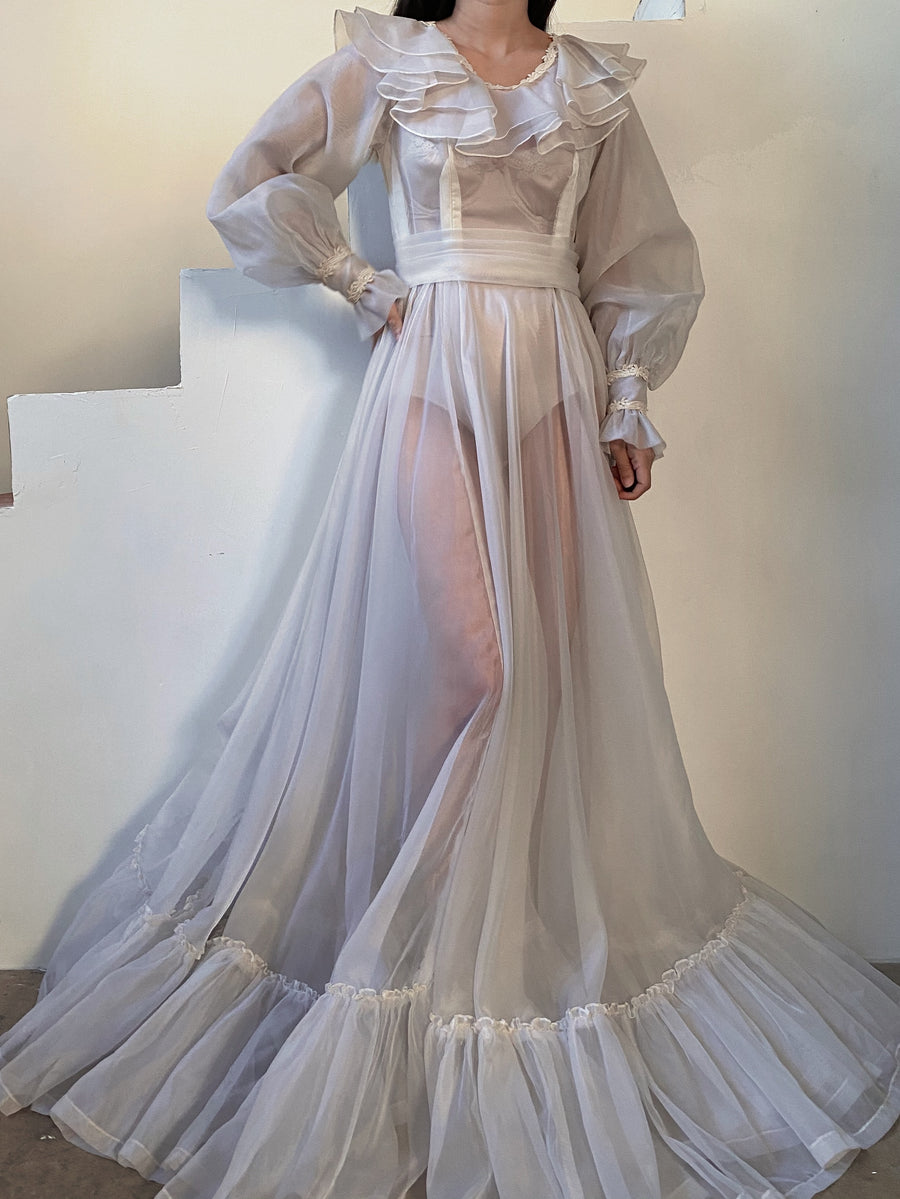 Vintage Puff Sleeve Sheer Gown - S