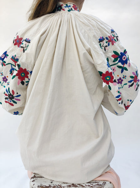 Antique Cotton Puffed Sleeve Top/Tunic - S