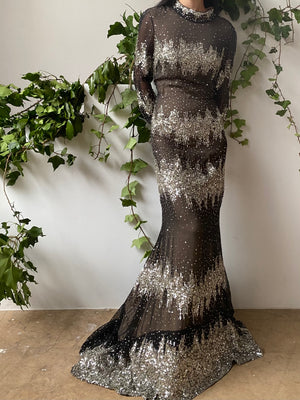 J. Mendel Silk Sequined Beaded Gown - M/8