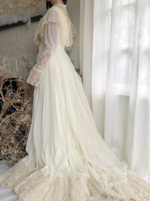 Vintage Ivory Chiffon and Lace Gown - S/M