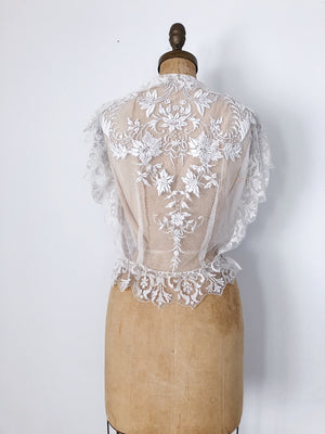 1920s Antique Embroidered Top  - S/M
