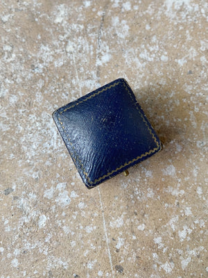 Antique Blue Leather Silk Lined Ringbox
