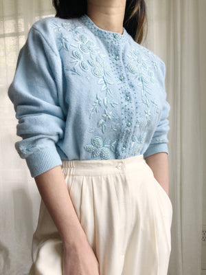 1950s/60s Rare Blue Embroidered Cardigan - M