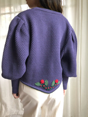 Vintage Navy Mutton Sleeves Wool Cardigan  - M
