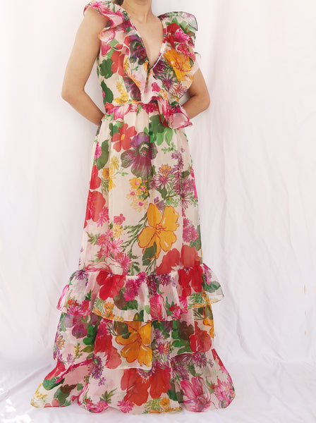 1970s Ruffle Silk Organza Layered Gown- XS