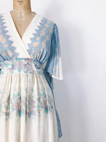 1970s Blue Cotton Butterfly Sleeves Dress - S