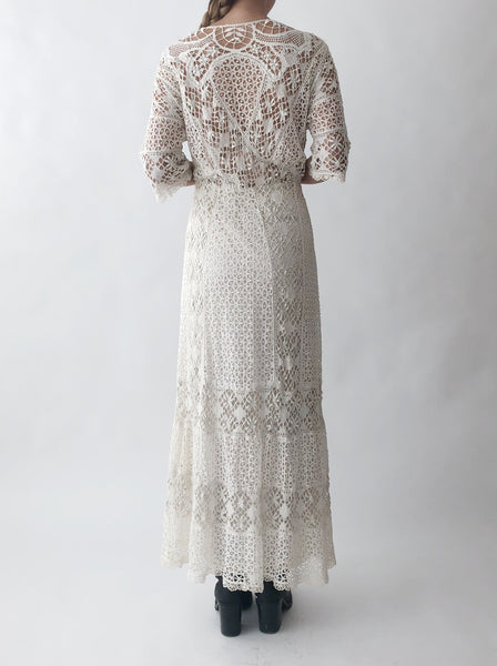 Antique Reversible Edwardian Cutout Lace Dress - S