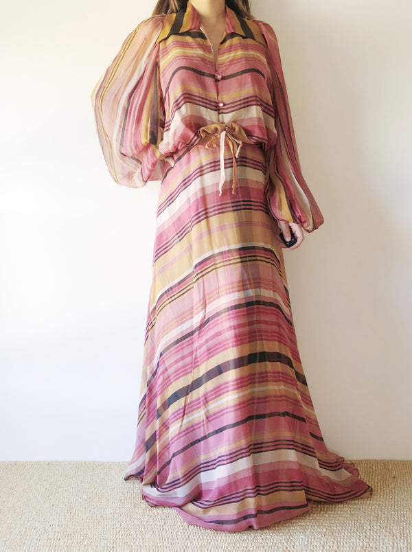 1950s Plaid Silk Chiffon Two-Piece Set - XS/S