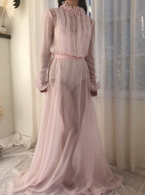 Vintage Light Pink Chiffon Dress - S/M