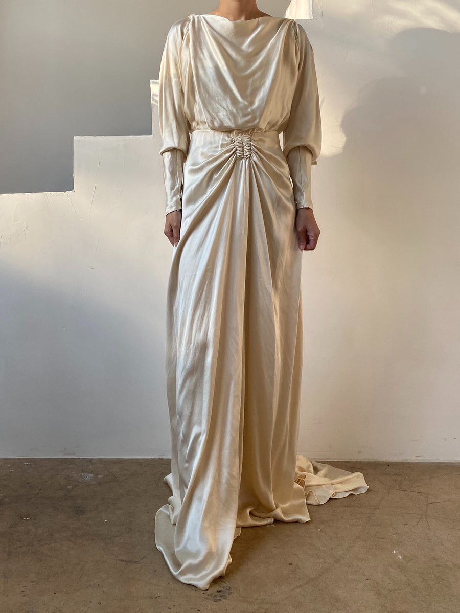 1930s Silk Charmeuse Wedding Gown - XS/S