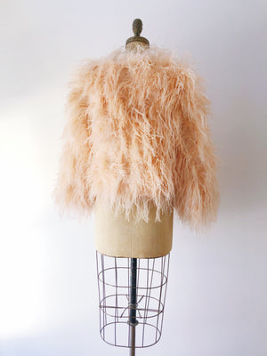 1950s Peach Ostrich Feather Jacket - S/M