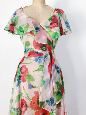 1970s Sheer Floral Print Dress - S/M