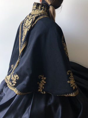 Antique Gold Embroidered Capelet - One Size