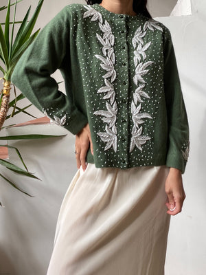 1950s Green Beaded Angora Cardigan - M