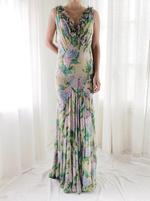 Rare Vintage Eavis & Brown Silk Floral Bias Cut Gown - S/M