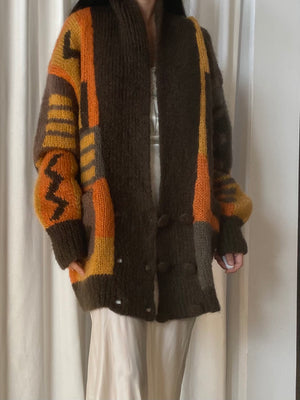 Vintage Abstract Mohair Double Breasted Cardigan - M/L