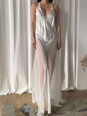 Y2K Silk Chiffon and Charmeuse Slip Dress - S/M