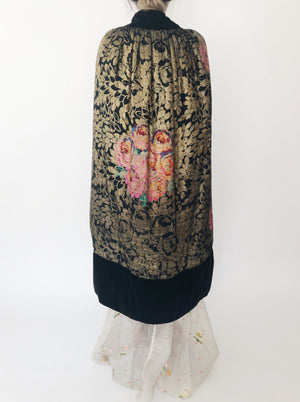 1930s Silk Lame' Cape with Velvet Trim - One Size