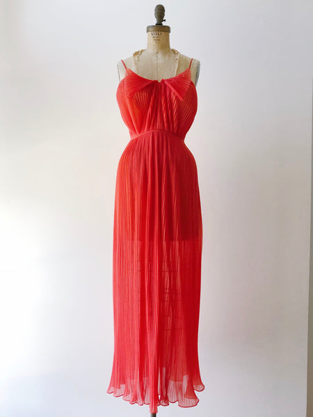 1960s Red Pleated Slip Dress - XS