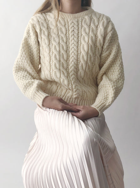 Deadstock Vintage Wool Cable Knit Sweater - S