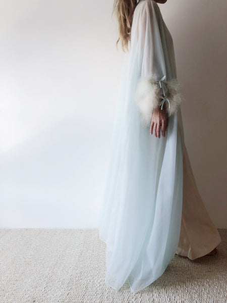 1950s Baby Blue Tricot Chiffon and Feather Dressing Robe - OSFM