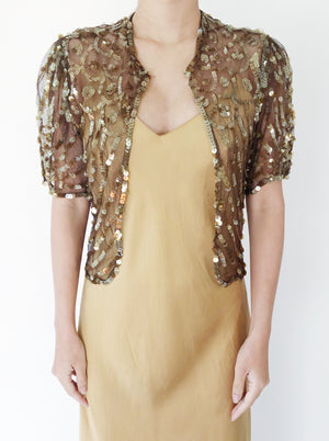 1930s Chocolate Silk Sequin Jacket - S