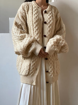 Vintage Wool Cable Chunky Knit Cardigan - L/XL