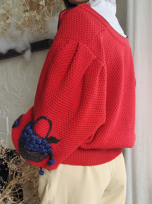 Vintage Embroidered Red Puff Sleeves Wool Cardigan - M/L
