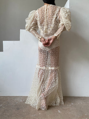 Vintage Mutton Sleeves Lace Gown - OSFM