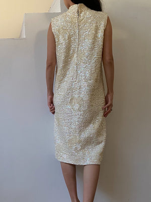 1960s Beaded Sequin Dress - M