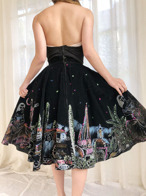 Vintage Black Embroidered Satin Bustier - 36B/34C