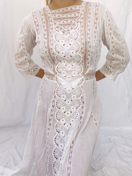 Antique Cotton Embroidered Dress - S