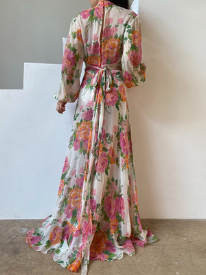 Vintage Silk Floral Chiffon Dress - S