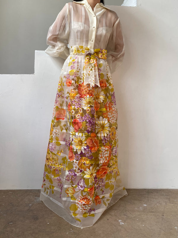 1960s Ivory Printed Floral Dress - S/M