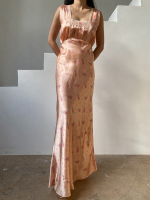 1930s Pink Satin Floral Bias Gown - S/M