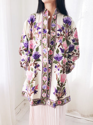 1970s Ivory Floral Embroidered Wool/Cashmere Jacket - M