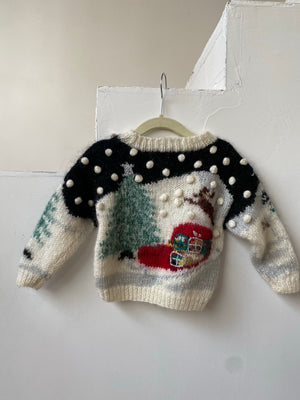Vintage Toddler Christmas Mohair Sweater - 6M-2T