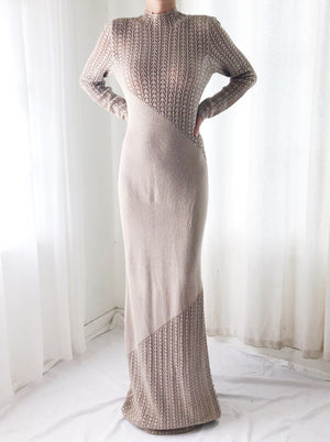 Vintage 1970s Rhinestone Embellished Knit Gown - S/M