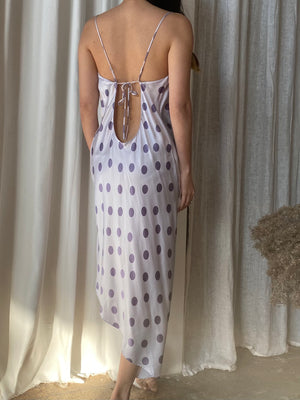 Y2K Dotted Purple/Lavender Silk Slip Dress - S/M