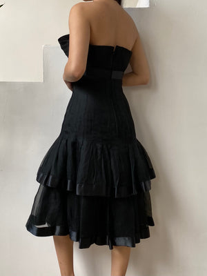 RESERVED Vintage Strapless Silk Organza Dress - S/M