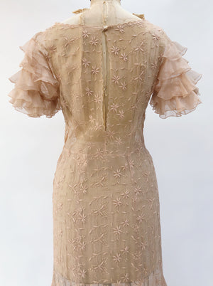 1930s Peach Silk Embroidered Gown - S/M