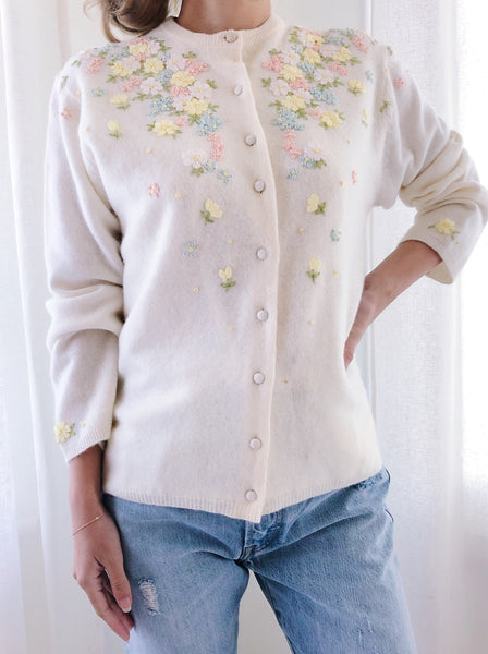 1950/60s Ivory Floral Embroidered Wool Cardigan - S/M