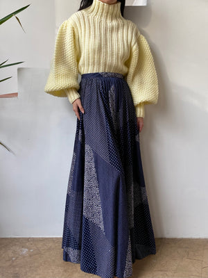1980s Blue Abstract Skirt - S
