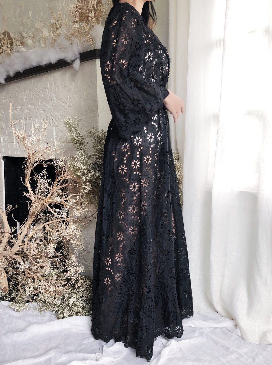 Antique Black Organdy and Lace Dress - S/M