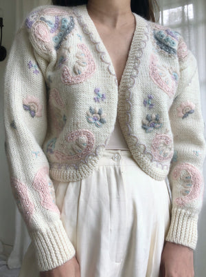 Vintage Cream Floral Embroidered Cardigan - S