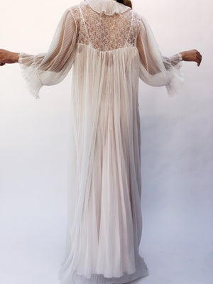 1960s Ivory Sheer Accordion Pleated Dressing Gown - One Size