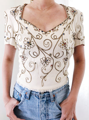 1940s Ivory Rayon Jeweled Top - XS/S