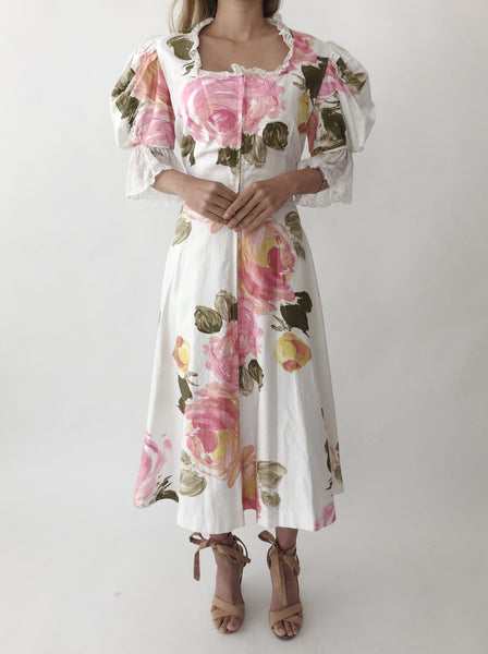 1950s Silk Rose Print Dress - S/M