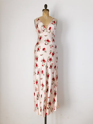 Long Silk Floral Slip Dress - S